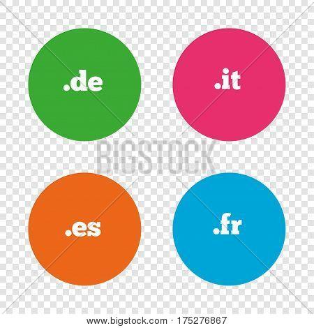 Top-level internet domain icons. De, It, Es and Fr symbols. Unique national DNS names. Round buttons on transparent background. Vector