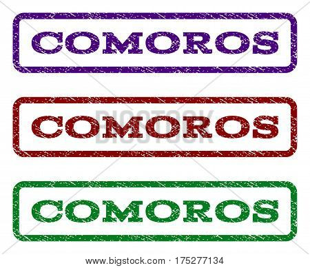 Comoros watermark stamp. Text caption inside rounded rectangle with grunge design style. Vector variants are indigo blue, red, green ink colors. Rubber seal stamp with unclean texture.