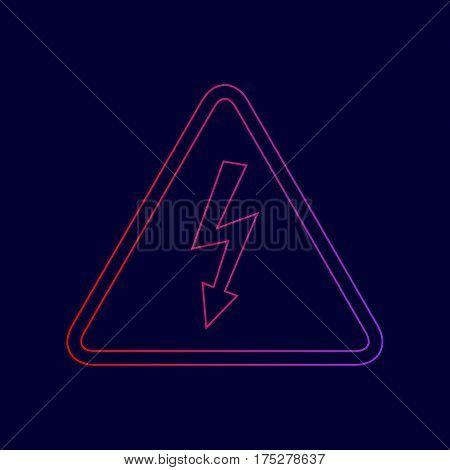High voltage danger sign. Vector. Line icon with gradient from red to violet colors on dark blue background.