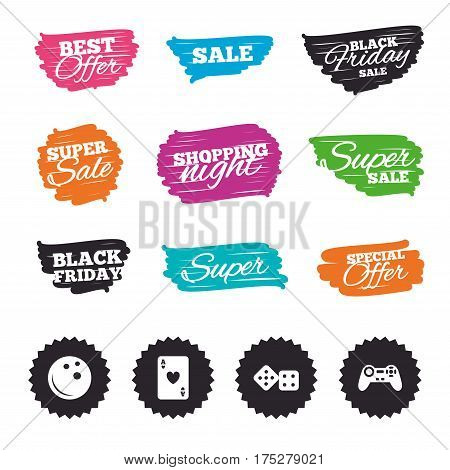 Ink brush sale banners and stripes. Bowling and Casino icons. Video game joystick and playing card with dice symbols. Entertainment signs. Special offer. Ink stroke. Vector