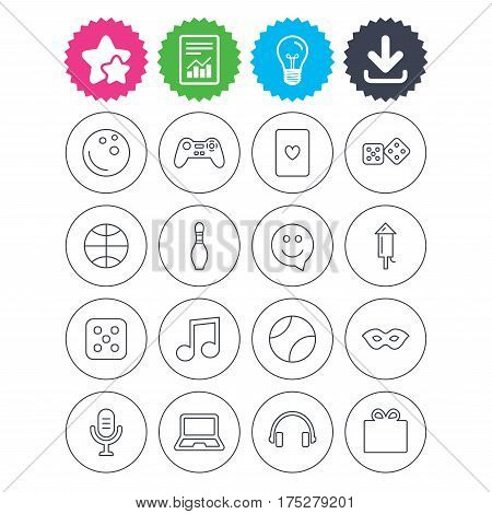 Download, light bulb and report signs. Entertainment icons. Game console joystick, notebook and microphone symbols. Poker playing card, dice and mask thin outline signs. Vector