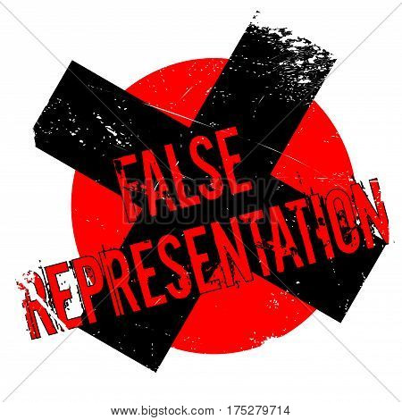 False Representation rubber stamp. Grunge design with dust scratches. Effects can be easily removed for a clean, crisp look. Color is easily changed.
