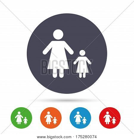 One-parent family with one child sign icon. Mother with daughter symbol. Round colourful buttons with flat icons. Vector