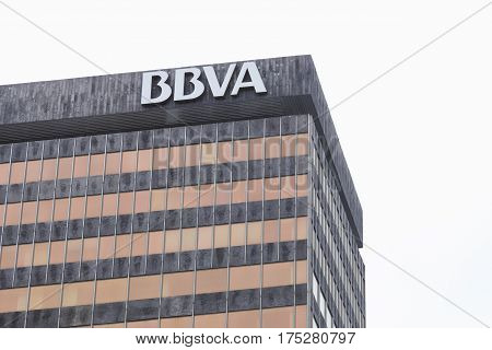 BILBAO SPAIN - MARCH 09 2017: Detail of the BBVA bank building facade sited on the Gran Via. Banco Bilbao Vizcaya Argentaria is a spanish bank the first financial institution in Mexico and second in Spain and Peru.