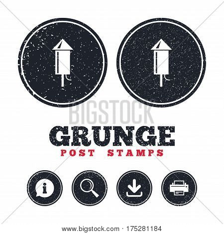 Grunge post stamps. Fireworks rocket sign icon. Explosive pyrotechnic device symbol. Information, download and printer signs. Aged texture web buttons. Vector