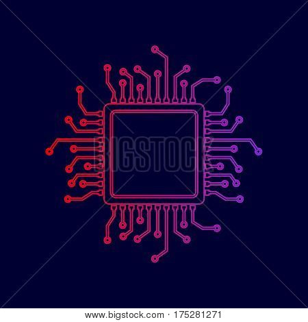 CPU Microprocessor illustration. Vector. Line icon with gradient from red to violet colors on dark blue background.