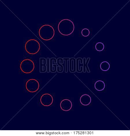 Circular loading sign. Vector. Line icon with gradient from red to violet colors on dark blue background.
