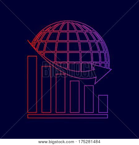 Declining graph with earth. Vector. Line icon with gradient from red to violet colors on dark blue background.