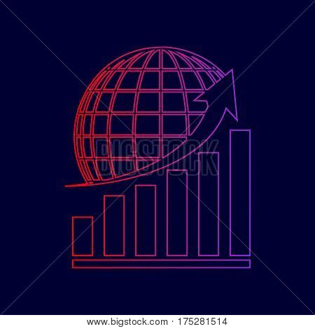Growing graph with earth. Vector. Line icon with gradient from red to violet colors on dark blue background.
