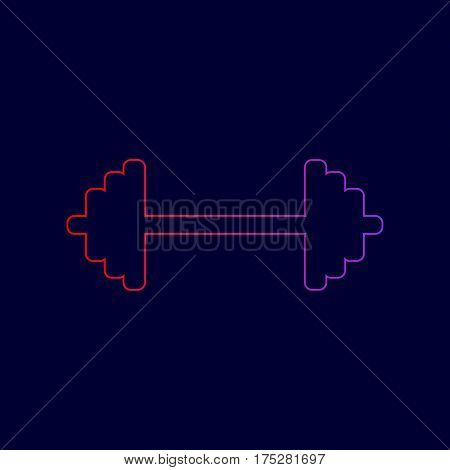 Dumbbell weights sign. Vector. Line icon with gradient from red to violet colors on dark blue background.