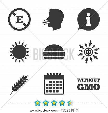 Food additive icon. Hamburger fast food sign. Gluten free and No GMO symbols. Without E acid stabilizers. Information, go to web and calendar icons. Sun and loud speak symbol. Vector