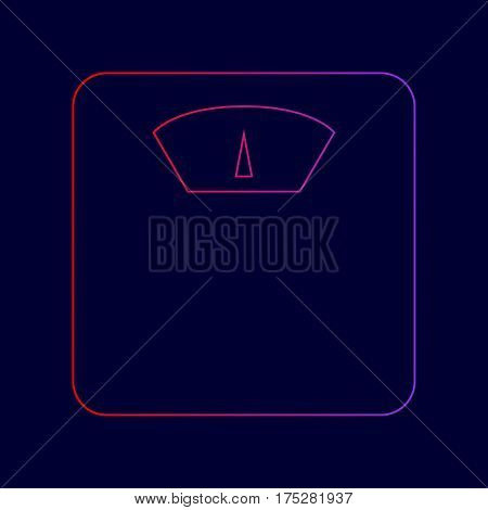 Bathroom scale sign. Vector. Line icon with gradient from red to violet colors on dark blue background.