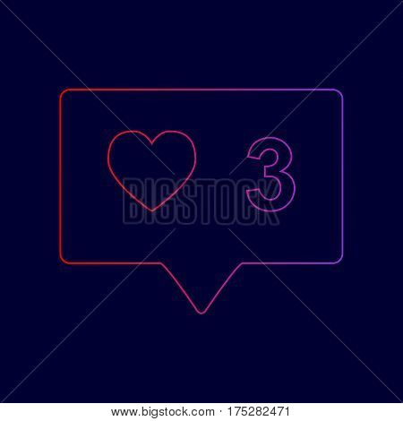 Like and comment sign. Vector. Line icon with gradient from red to violet colors on dark blue background.