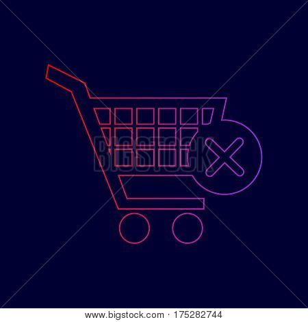 Shopping Cart with delete sign. Vector. Line icon with gradient from red to violet colors on dark blue background.