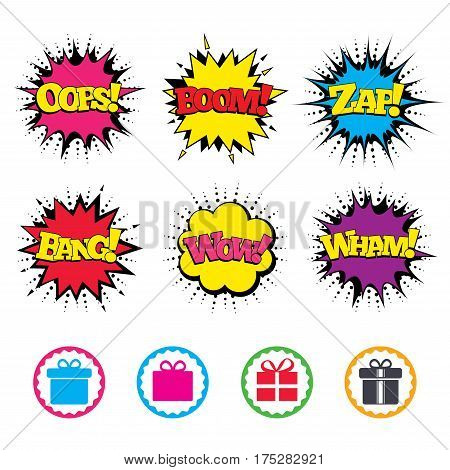 Comic Wow, Oops, Boom and Wham sound effects. Gift box sign icons. Present with bow and ribbons sign symbols. Zap speech bubbles in pop art. Vector