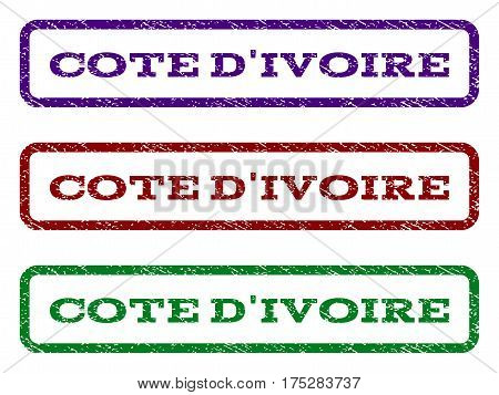 Cote D'Ivoire watermark stamp. Text tag inside rounded rectangle with grunge design style. Vector variants are indigo blue, red, green ink colors. Rubber seal stamp with unclean texture.