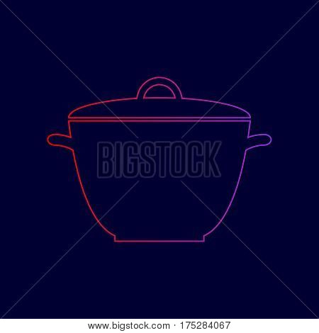 Saucepan simple sign. Vector. Line icon with gradient from red to violet colors on dark blue background.