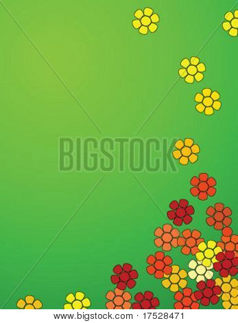 Fleurs voler dans les airs. Une image vectorielle fond de printemps.