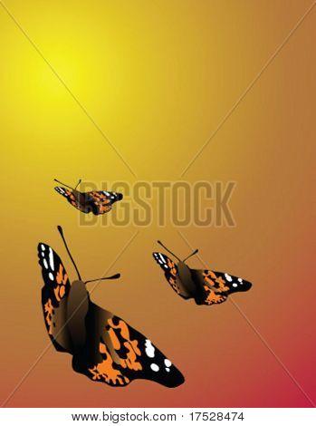 Trois papillons voler pendant une journée chaude.  Une image vectorielle de fond.