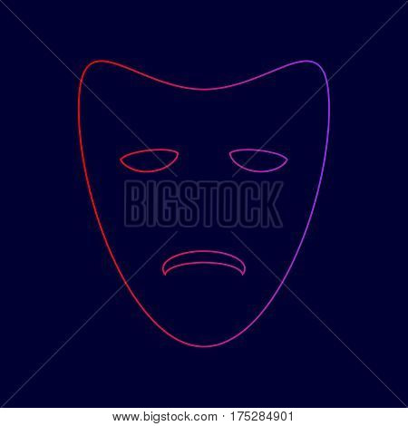 Tragedy theatrical masks. Vector. Line icon with gradient from red to violet colors on dark blue background.
