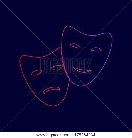 Theater icon with happy and sad masks. Vector. Line icon with gradient from red to violet colors on dark blue background.