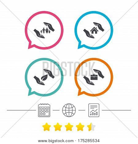 Hands insurance icons. Human life insurance symbols. Nature leaf protection symbol. House property insurance sign. Calendar, internet globe and report linear icons. Star vote ranking. Vector