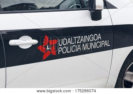 BILBAO SPAIN - MARCH 09 2017: Bilbao city police force logo in one of their cars.