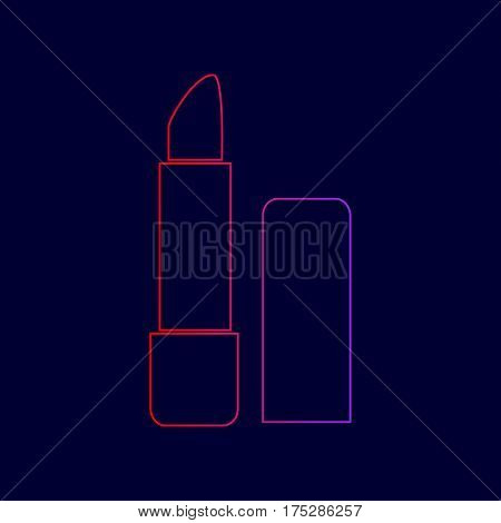 Pomade simple sign. Vector. Line icon with gradient from red to violet colors on dark blue background.
