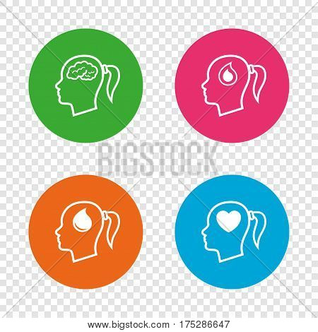 Head with brain icon. Female woman think symbols. Blood drop donation signs. Love heart. Round buttons on transparent background. Vector