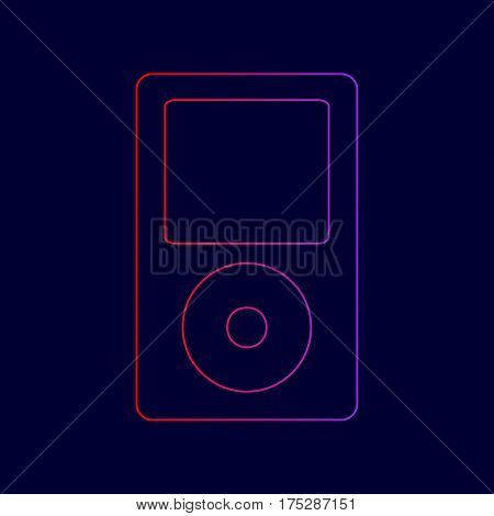 Portable music device. Vector. Line icon with gradient from red to violet colors on dark blue background.