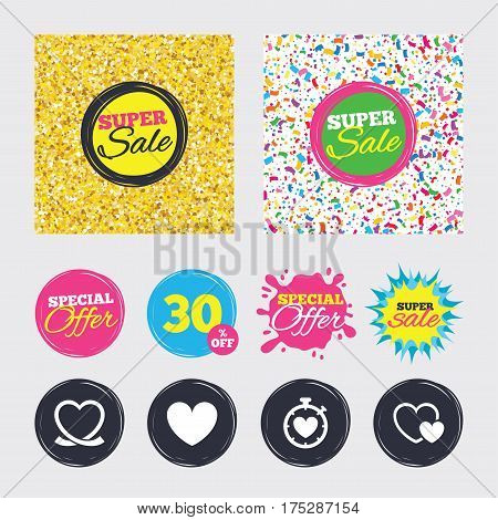 Gold glitter and confetti backgrounds. Covers, posters and flyers design. Heart ribbon icon. Timer stopwatch symbol. Love and Heartbeat palpitation signs. Sale banners. Special offer splash. Vector