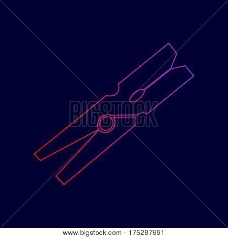 Clothes peg sign. Vector. Line icon with gradient from red to violet colors on dark blue background.
