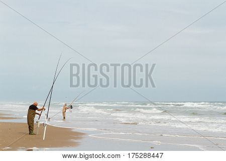 Beach fishing on South Padre Island .