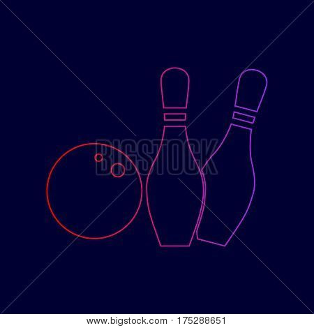 Bowling sign illustration. Vector. Line icon with gradient from red to violet colors on dark blue background.