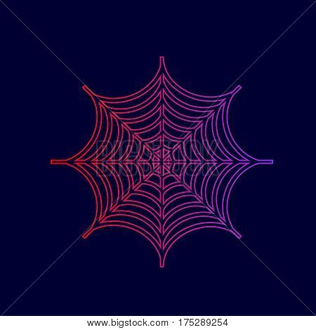 Spider on web illustration. Vector. Line icon with gradient from red to violet colors on dark blue background.