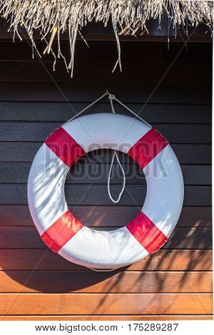 Red and White Lifebuoy on Wooden Wall Background