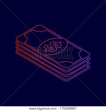 Bank Note dollar sign. Vector. Line icon with gradient from red to violet colors on dark blue background.