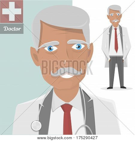 Old doctor with stethoscope. The character isolated of the physician with a mustache. Vector illustration.