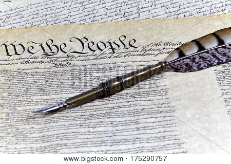 Us Constitution Historical Documents With A Quill Pen