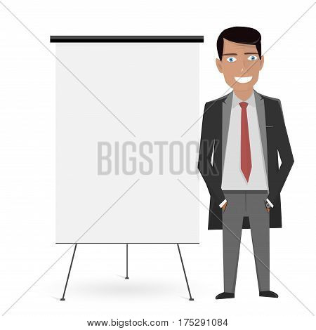 White Board for the business presentation and the man in the suit.