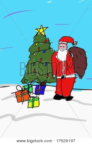 Childlike drawing of Santa in front of a Christmas tree and presents