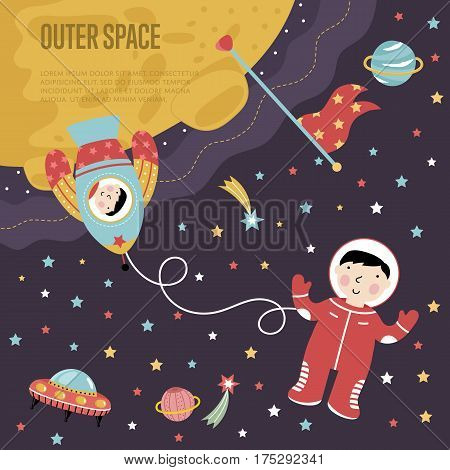 Outer space cartoon landing page template. Rocket with astronaut on moon, man in spacesuit in space, stars, planets, flying saucer vector illustration.