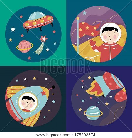 Space objects cartoon icons. Flying saucer in cosmos, astronaut in spacesuit with flag on Moon, rocket with boy in porthole, flamed spaceship engine vector illustrations.