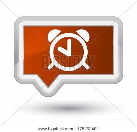 Alarm Clock Icon Prime Brown Banner Button