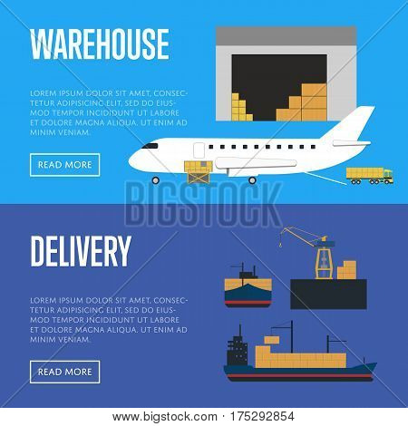 Delivery and warehouse banner vector illustration. Loading cargo jet airplane in airport and crane shipment freight vessel in port. Warehouse logistics, worldwide delivery transportation, cargo lines