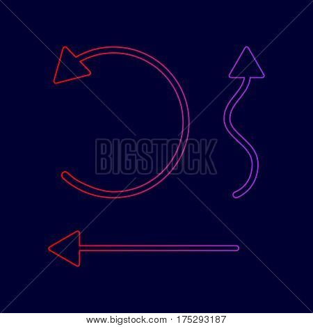 Simple set to Interface Arrows Vector. Line icon with gradient from red to violet colors on dark blue background.