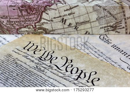 Us Constitution With Old World Map