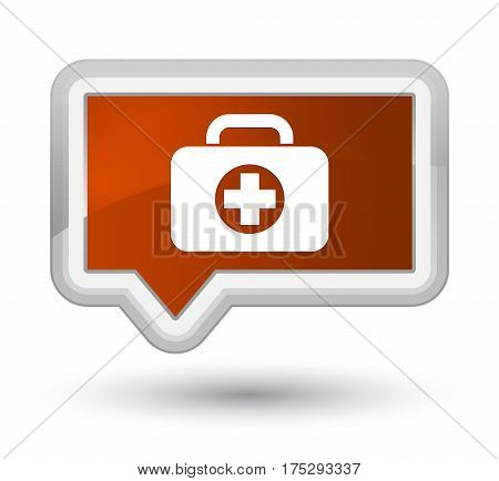 First Aid Kit Bag Icon Prime Brown Banner Button