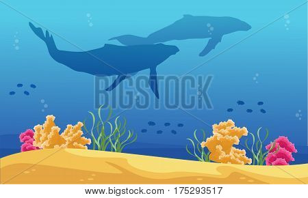 Beauty landscape underwater with whale silhouettes vector art