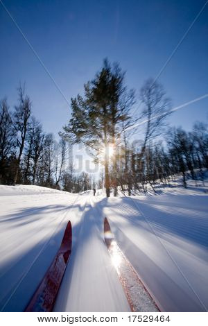 Motion action shot of cross country skiing.
